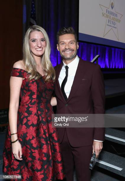 Alumnus Alexandra Falcucci and honoree Ryan Seacrest attend the 2019 Fashion Scholarship Fund Awards Gala on January 10 2019 in New York City