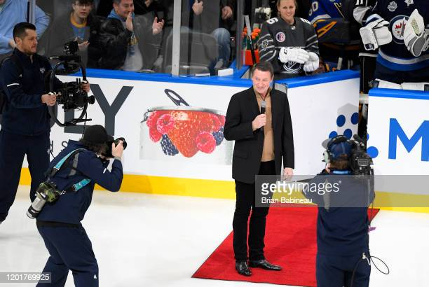 NHL alumnus Wayne Gretzky addresses the fans in the arena prior to the 2020 NHL AllStar Skills competition at Enterprise Center on January 24 2020 in...