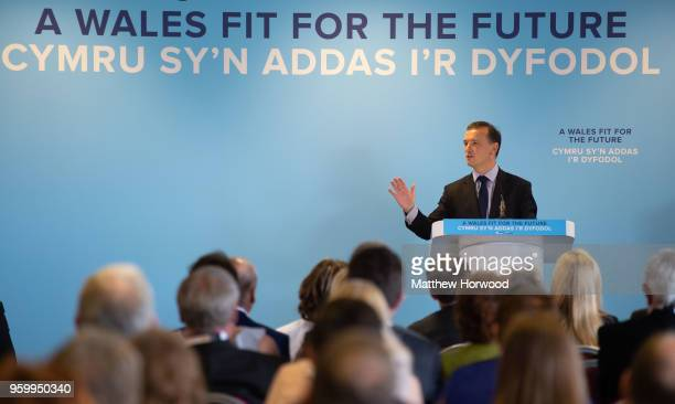 Alun Cairns Secretary of State for Wales and MP for the Vale of Glamorgan speaks at the Welsh Conservative party conference at Ffos Las Racecourse on...