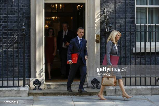 Alun Cairns UK Welsh secretary left and Esther McVey UK home minister depart following a meeting of cabinet minsters at number 10 Downing Street in...