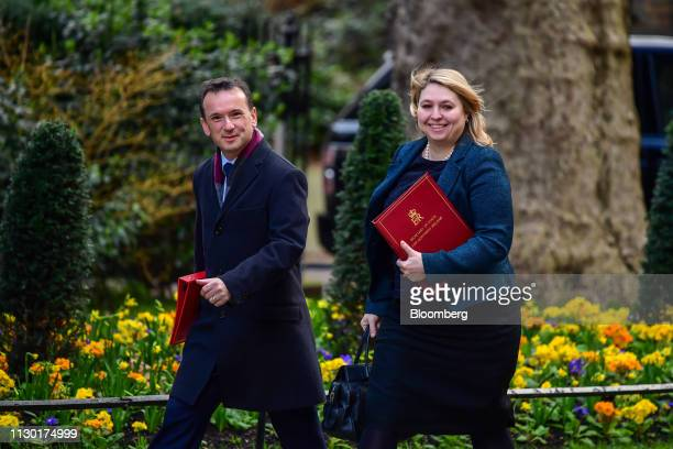 Alun Cairns UK Welsh secretary left and Karen Bradley UK Northern Ireland secretary arrive for a meeting of cabinet ministers ahead of the spring...