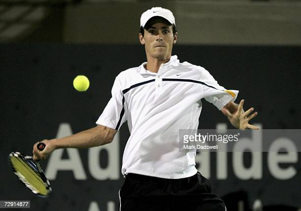 Alun Jones of Australia plays a forehand in his match with Novak Djokovic of Serbia during day four of the 2007 Next Generation Adelaide...