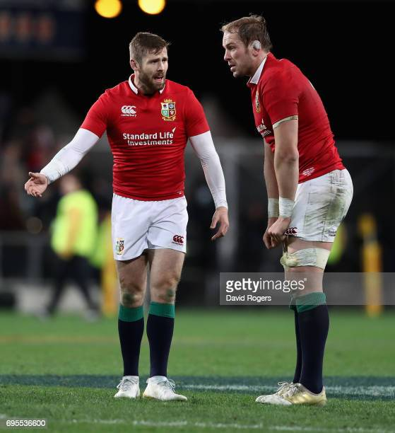 Alun Wyn Jones and Elliot Daly of the Lions look dejected after their defeat during the 2017 British Irish Lions tour match between the Highlanders...
