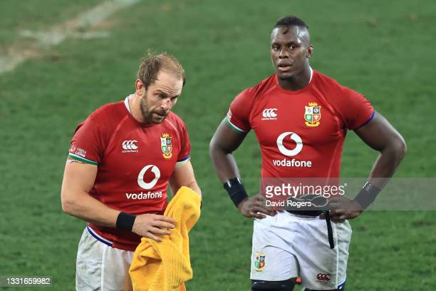 Alun Wyn Jones and Maro Itoje of British & Irish Lions looks dejected following defeat during the 2nd Test between South Africa Springboks and...