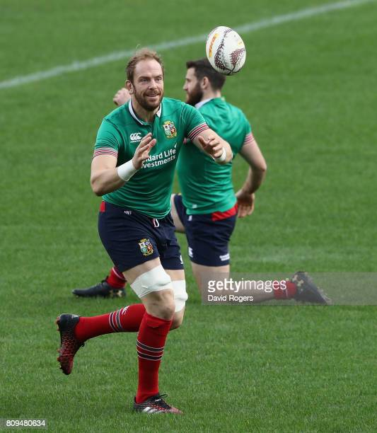 Alun Wyn Jones catches the ball during the British Irish Lions training session at QBE Stadium on July 6 2017 in Auckland New Zealand
