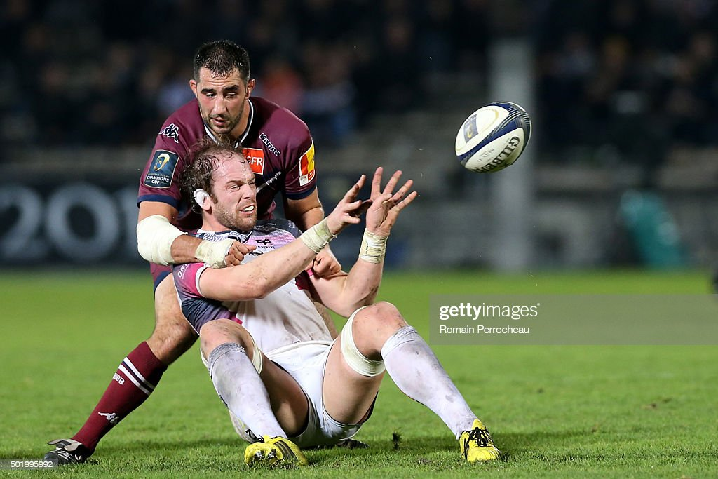 Alun Wyn Jones for Ospreys and Benoit Madaule for Union Bordeaux Begles in action during the European Rugby Champions Cup match between Union Bordeaux Begles and Ospreys at Stade Chaban-Delmas on December 19, 2015 in Bordeaux, France.
