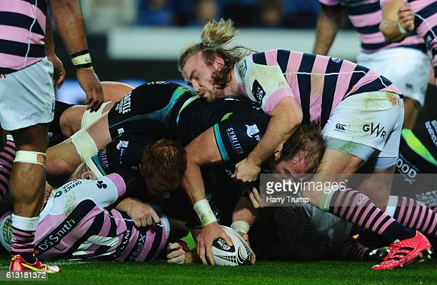 Alun Wyn Jones of Ospreys scores his sides first try during the Guiness Pro12 match between the Ospreys and Cardiff Blues at the Liberty Stadium on...