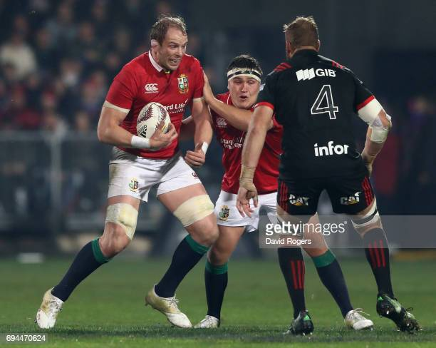 Alun Wyn Jones of the Lions charges upfield during the match between the Crusaders and the British Irish Lions at AMI Stadium on June 10 2017 in...