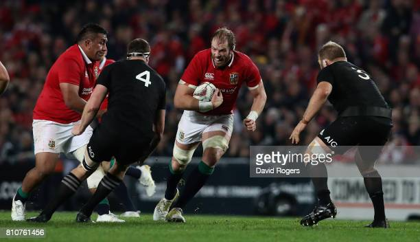 Alun Wyn Jones of the Lions charges upfield during the Test match between the New Zealand All Blacks and the British Irish Lions at Eden Park on July...