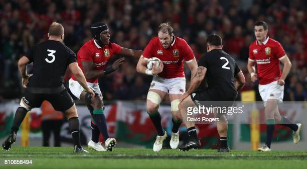 Alun Wyn Jones of the Lions charges upfield during the third test match between the New Zealand All Blacks and the British Irish Lions at Eden Park...