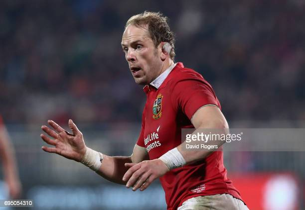 Alun Wyn Jones of the Lions looks on during the match between the Crusaders and the British Irish Lions at AMI Stadium on June 10 2017 in...