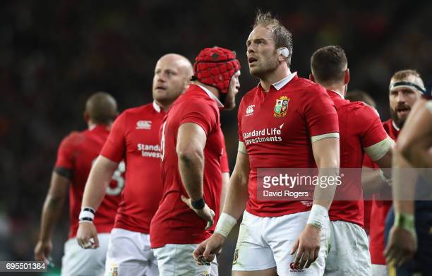 Alun Wyn Jones of the Lions looks on during their defeat during the 2017 British Irish Lions tour match between the Highlanders and the British Irish...