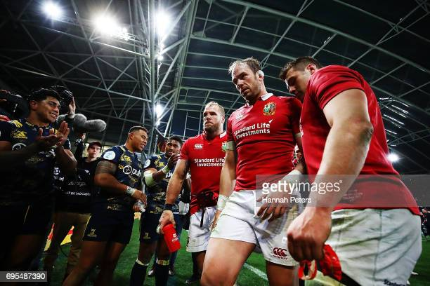 Alun Wyn Jones of the Lions walks off after losing the match between the Highlanders and the British Irish Lions at Forsyth Barr Stadium on June 13...