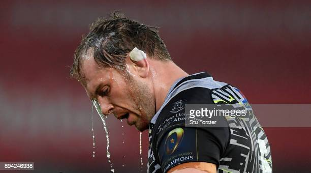 Alun Wyn Jones of the Ospreys pours water over his head during the European Rugby Champions Cup match between Ospreys and Northampton Saints at...