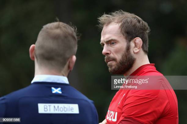 Alun Wyn Jones of Wales and John Barclay of Scotland speak during the 6 Nations Launch event at the Hilton on January 24 2018 in London England