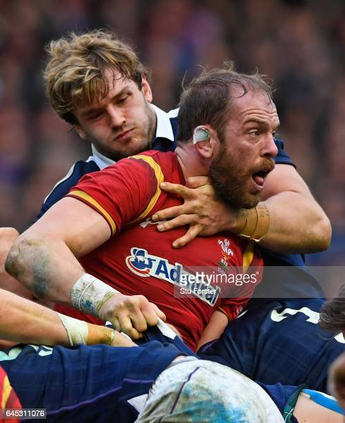 Alun Wyn Jones of Wales and Richie Gray of Scotland grapple during the RBS Six Nations match between Scotland and Wales at Murrayfield Stadium on...