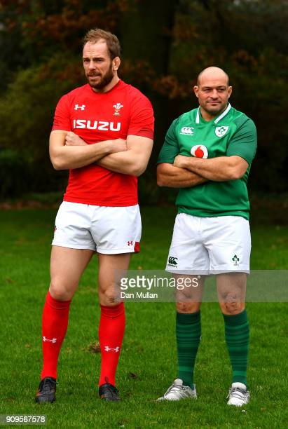 Alun Wyn Jones of Wales and Rory Best of Ireland during the 6 Nations Launch event at the Hitlon on January 24 2018 in London England