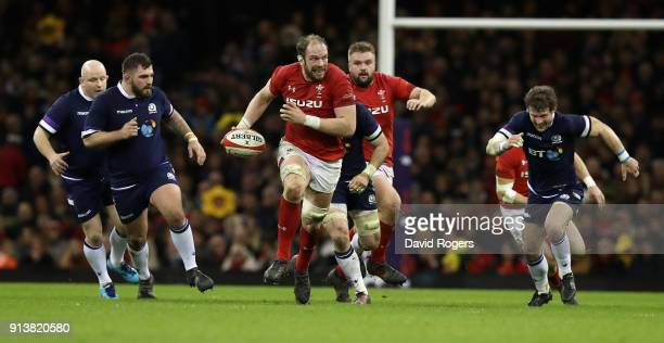 Alun Wyn Jones of Wales breaks with the ball during the NatWest Six Nations match between Wales and Scotland at the Principality Stadium on February...