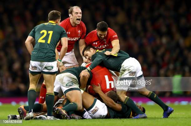 Alun Wyn Jones of Wales celebrates victory after the International Friendly match between Wales and South Africa on November 24 2018 in Cardiff...