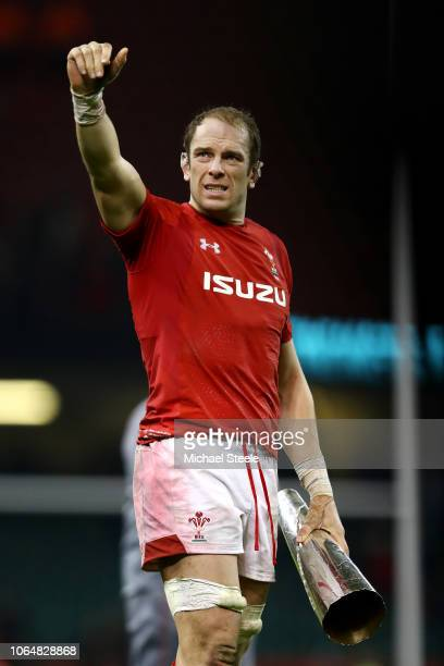 Alun Wyn Jones of Wales celebrates victory with the trophy after the International Friendly match between Wales and South Africa on November 24 2018...