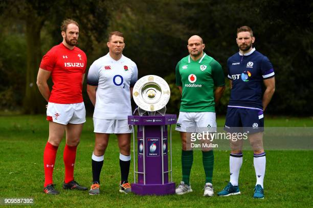 Alun Wyn Jones of Wales Dylan Hartley of England Rory Best of Ireland and John Barclay of Scotland pose with the trophy during the 6 Nations Launch...