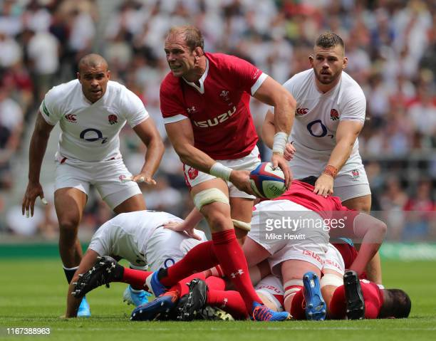 Alun Wyn Jones of Wales in action during the 2019 Quilter International between England and Wales at Twickenham Stadium on August 11 2019 in London...
