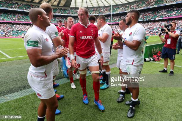 Alun Wyn Jones of Wales leads his team off the field following defeat in the 2019 Quilter International match between England and Wales at Twickenham...