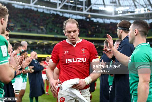 Alun Wyn Jones of Wales looks dejected following his team's defeat during the 2020 Guinness Six Nations match between Ireland and Wales at Aviva...