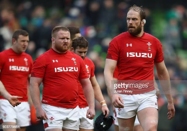 Alun Wyn Jones of Wales looks on after their defeat to Ireland in the NatWest Six Nations match between Ireland and Wales at Aviva Stadium on...