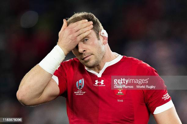 Alun Wyn Jones of Wales looks on prior to the Rugby World Cup 2019 SemiFinal match between Wales and South Africa at International Stadium Yokohama...