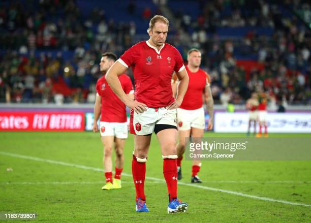 Alun Wyn Jones of Wales reacts after his team's defeat in the Rugby World Cup 2019 SemiFinal match between Wales and South Africa at International...