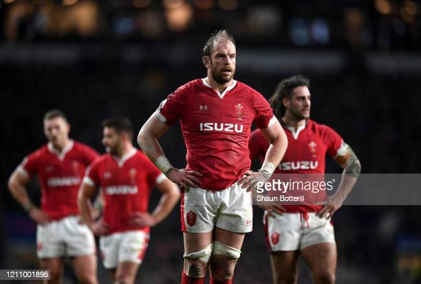 Alun Wyn Jones of Wales reacts during the 2020 Guinness Six Nations match between England and Wales at Twickenham Stadium on March 07, 2020 in...