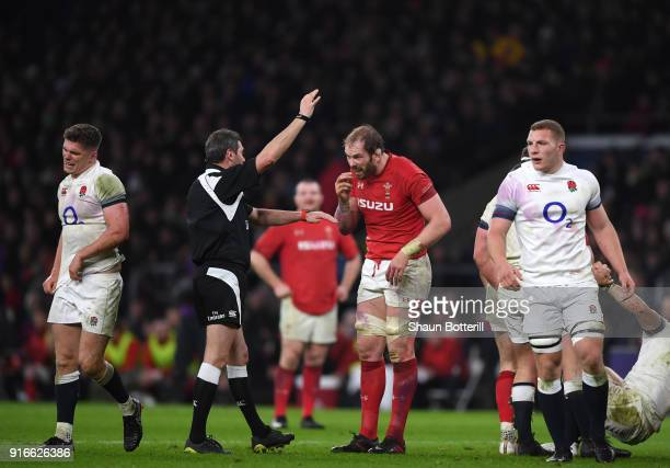 Alun Wyn Jones of Wales talks to referee Jerome Garces during the NatWest Six Nations round two match between England and Wales at Twickenham Stadium...