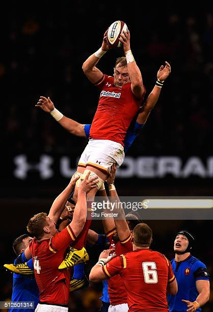 Alun Wyn Jones of Wales wins lineout ball during the RBS Six Nations match between Wales and France at the Principality Stadium on February 26 2016...