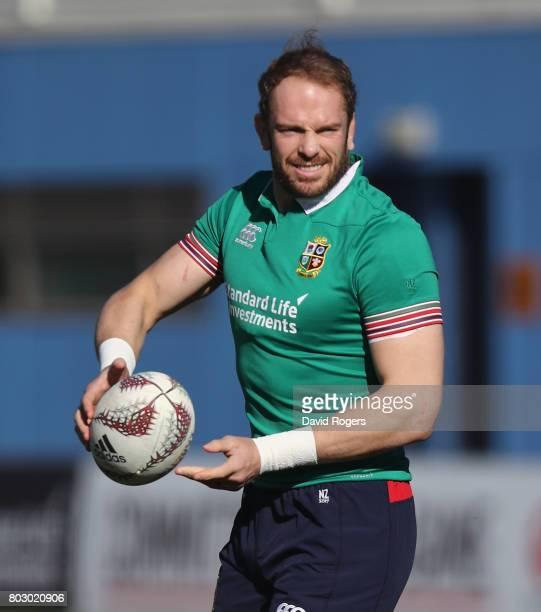 Alun Wyn Jones passes the ball during the British Irish Lions training session at Porirua Park on June 29 2017 in Wellington New Zealand