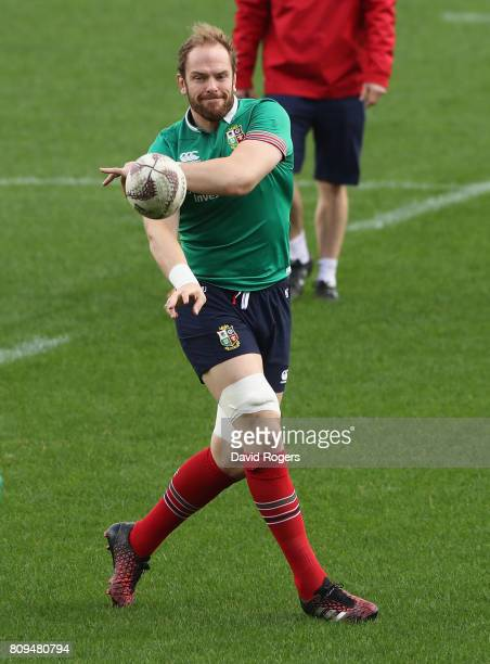 Alun Wyn Jones passes the ball during the British Irish Lions training session at QBE Stadium on July 6 2017 in Auckland New Zealand
