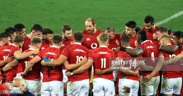 Alun Wyn Jones, the Lions captain, talks to his team after their defeat during the 2nd test match between South Africa Springboks and the British &...