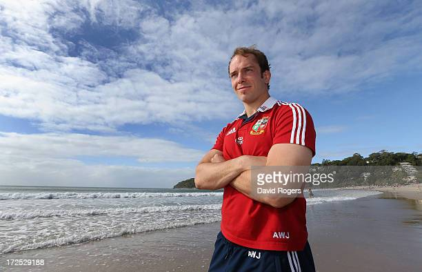 Alun Wyn Jones who will captain the British and Irish Lions in the third and final test against the Wallabies poses on Noosa Beach on July 3 2013 in...