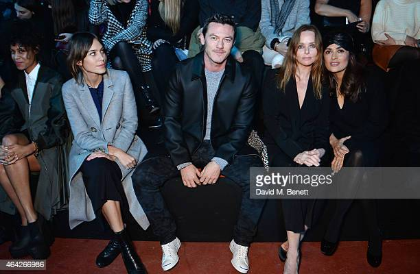 Aluna Francis Alexa Chung Luke Evans Stella McCartney and Salma Hayek Pinault attend the Hunter Original AW15 catwalk show during London Fashion Week...
