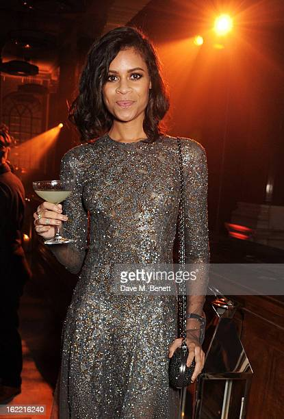 Aluna Francis attends the Universal Music Brits Party hosted by Bacardi at the Soho House popup on February 20 2013 in London England