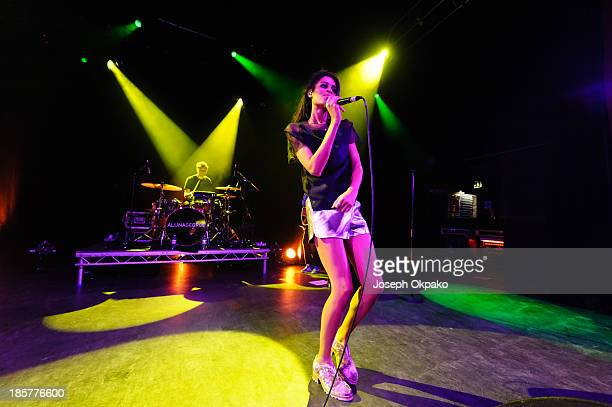 Aluna Francis of AlunaGeorge performs at Shepherds Bush Empire on October 24 2013 in London England