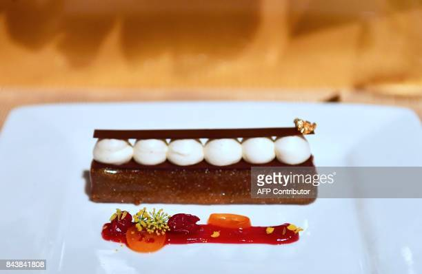 Alunga Brownie Bar with Dulce de leche roasted cherries and cherry gel is displayed as dessert at the 2017 Emmy Awards Governors Ball press preview...