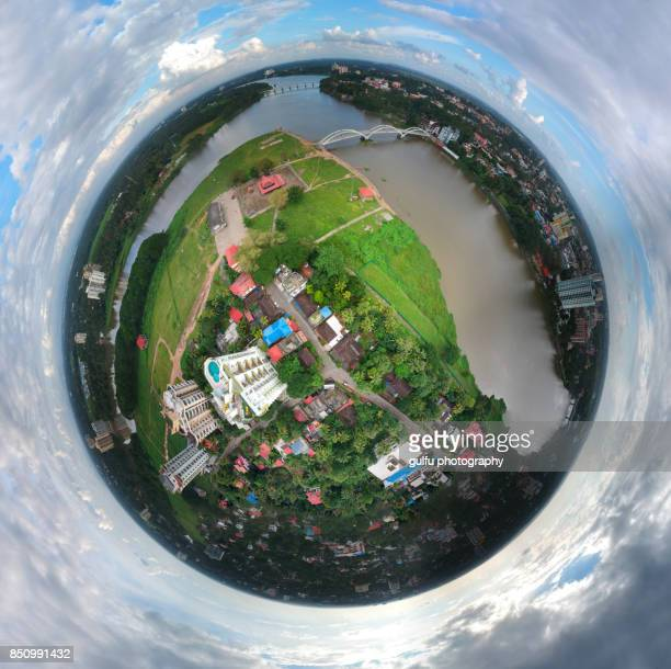 Aluva Aerial view before and after flood