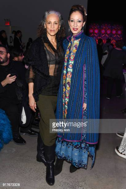 Alva Chinn and Pat Cleveland attend Anna Sui Front Row February 2018 New York Fashion Week at Spring Studios on February 12 2018 in New York City