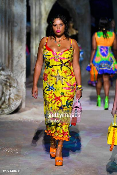 Alva Claire walks the runway at the Versace fashion show during the Milan Women's Fashion Week on September 25, 2020 in Milan, Italy.