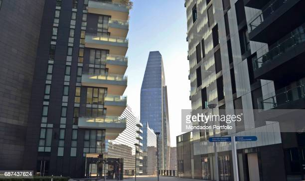 Alvar Aalto Square in Porta Nuova district of Milan The square is surrounded by Solaria Tower Aria Tower and Solea Tower At the end of the boulevard...