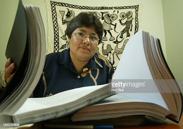 Alvarado RB02 04/12/05 Ana Maria Alvarado activist from Mexico with documents she is taking to Ottawa regarding her case of a Canadian Gold Mining...