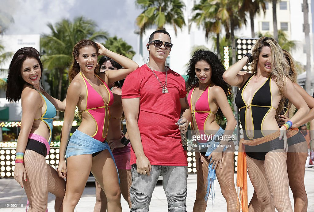 J Alvarez Is Seen Performing On The Set Of Despierta America At Doubletree Surfcomber Hotel