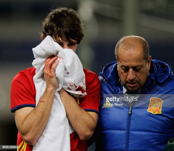 Alvarez Yeray of Spain U21 is injured during the international friendly match between Italy U21 and Spain U21 at Olimpico Stadium on March 27 2017 in...
