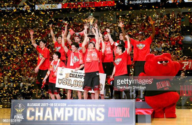 Alvark Tokyo players celebrate after the B.League Championship final between Alvark Tokyo and Chiba Jets at Yokohama Arena on May 26, 2018 in...